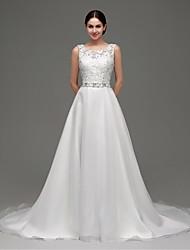 A-line Sweep/Brush Train Wedding Dress -Bateau Organza