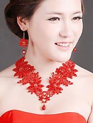 Bride Wedding Red Lace Diamond Noble Flower Earring Necklace Set