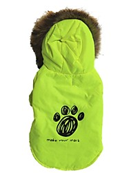 Cat Dog Coat Hoodie Green Dog Clothes Winter Spring/Fall Letter & Number Casual/Daily