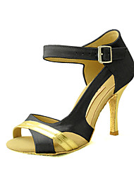 Customizable Women's Dance Shoes Satin Satin Latin / Salsa Sandals Customized Heel Practice / Beginner / Professional / IndoorBlack /