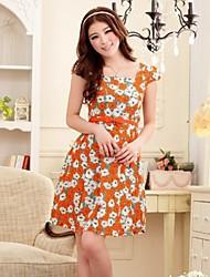 Women's Floral Pink/Orange Dress , Casual Square Neck Short Sleeve