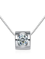 plaqué jazlyn® femme platine en argent sterling 925 mousseux creuse cube charme de zircone collier pendentif pour le cadeau