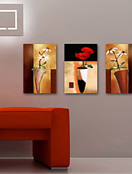 живопись маслом украшения абстрактные цветы ручной росписью холст с натянутой в рамке - набор из 3