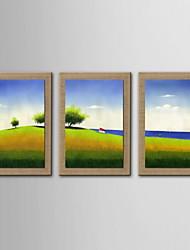 Ölgemälde Dekoration abstrakte Landschaft handgemalten Naturleinen mit gestreckten umrahmt - Set von 3
