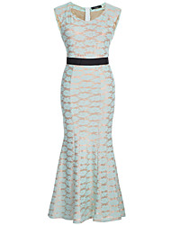 Women's Party/Cocktail Sexy Bodycon / Lace / Black and White / Trumpet/Mermaid Dress,Solid Round Neck Maxi SleevelessBeige / Black /
