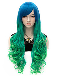 70cm Women's Wig Color Gradient Green Blue Curly Heat Resistant Synthetic Wig