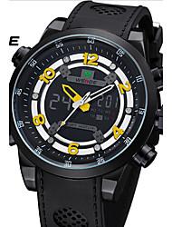 WEIDE Men Unique Design Fashion Sports Military Army Black Case Rubber Strap Wrist Watch