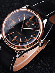Men's New Round Rome Nailed Dial Mineral Glass Mirror Genuine Leather Band Fashion Mechanical Waterproof Watch