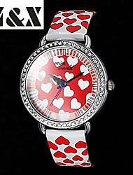 lazer moda relógio de quartzo cinto amor das mulheres