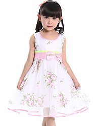 Children Kids Girls Baby Sleeveless Printing Tulle Summer Dress Clothes