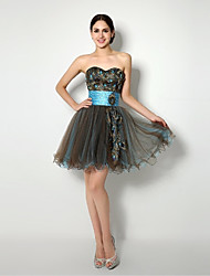 Heimkehr Cocktail-Party / Abendkleid Ballkleid Liebsten kurz / Mini-Tulle-Kleid