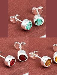 cadeau de la famille autour du feu citrine de quartz vert rouge joyau 925 boucles d'oreilles en argent pour la noce quotidiennes 1pairs de