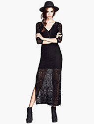 Women's Plus Size Three Quarter Sleeve Lace Hollow Out Floor-Length Slim Fit Maxi Dress