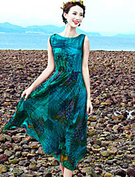 Women's Green Dress , Beach Sleeveless