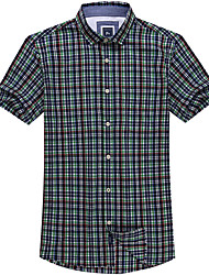Men's Casual Short Sleeve Cotton Checked Shirts