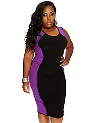 Women's Plus Size Party Dress Large Size Stretchy Sleeveless Knee-length Dress (Spandex/Polyester)