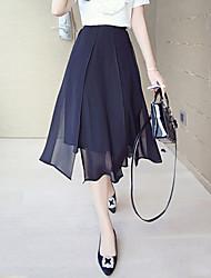 Women's Beach/Casual/Cute Elegent Thin Midi Slit Skirts (Chiffon)