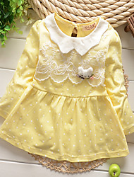 Girl's Cotton Casual Spring/Fall Going out Casual/Daily Lace Skirt Sweet Long Sleeve Dot Princess Dress