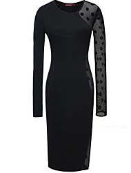 Women's Vintage Bodycon Casual Lace Party Plus Sizes Micro Elastic Long Sleeve Above Knee Dress   Others