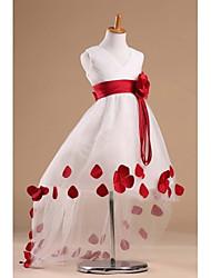 Flower Girl Dress - Princesa Cauda Longa Sem Mangas Cetim/Tule
