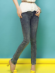 Long Xi quality of women's Korean slim slim grey washed denim pants feet pants pants