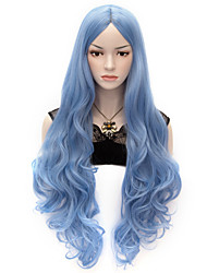 80cm U Party Curly Cosplay Party Wig Multi colors available Sky Blue