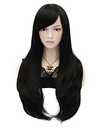 70cm/27.6inch Long Black Natural Straight Fashion Wigs Women Girl Multi-use Cosplay Synthetic Full Party Wig