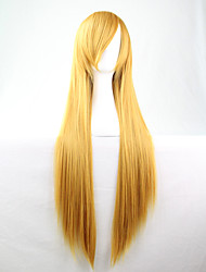 Cos Anime Bright Colored Wigs Long Yellow Straight  Hair Wig 80 cm