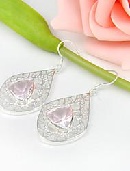 cadeau de famille triangle en forme de feu rose topaze précieuses argent 925 boucles d'oreilles pour la noce quotidiennes 1pairs de