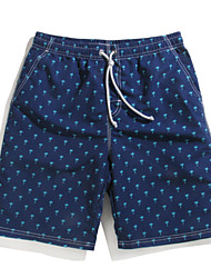 Men's Palm Print Surf Board Shorts Quick Dry Beach Swimwear Pants(Polyester)