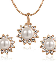 HKTC 18k Rose Gold Plated Crystal White Simulated Pearl Sun Flower Pendant Necklace and Earrings Set