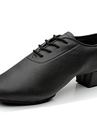 Non Customizable men's Dance Shoes Belly/Latin/Salsa/Samba Leather/Leatherette/Synthetic Chunky Heel Black