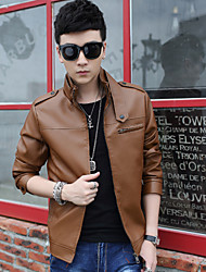 Men's  Solid color PU  Outerwear (PU)