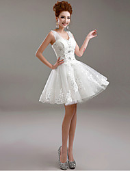 A-Line V-neck Short / Mini Tulle Wedding Dress with Beading Appliques by AMGAM