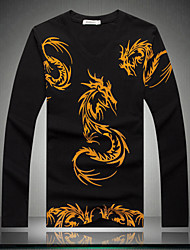 Men's long sleeve T-shirt China's big yards Dragon flower new men's T-shirt fat men's long sleeve T-shirt