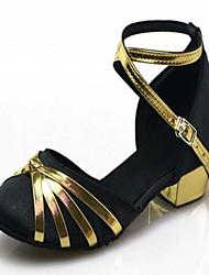 Non Customizable Women's / Kids' Dance Shoes Satin / Paillette Satin / Paillette Modern Heels Low Heel Practice / Beginner / IndoorBlack