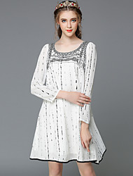 AOFULI Autumn Fashion Vintage Embroidery Bead Plus Size Women Loose Style Long Sleeve Party/Casual Dress