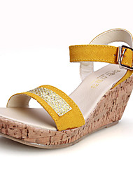 Women's Shoes  Wedge Heel Wedges/Heels/Peep Toe/Platform/Comfort/Open Toe Sandals Casual Black/Yellow