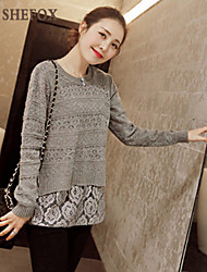 Women's Casual Micro-elastic Medium Long Sleeve Pullover (Lace/Knitwear) SF7C03