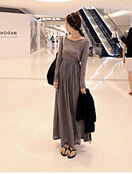 NUNEU   Women's Vintage Round Long Sleeve Dresses (Cotton)