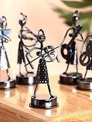 Metal Sculptures Music-Playing Girl Band Figures Collectible Art Decor (Random Color)