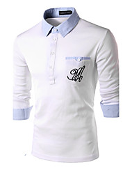 Men's Long Sleeve Polo , Cotton Casual Pure