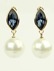Earring Drop Earrings Jewelry Women Alloy / Imitation Pearl / Rhinestone 2pcs Gold / White