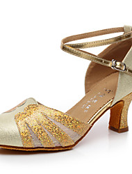 Women's Dance Shoes Sandals Paillette Cuban Heel Gold/Silver/Blue