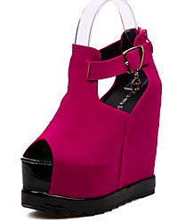 Women's Shoes Wedge Heel Wedges/Peep Toe Sandals Casual Black/Red