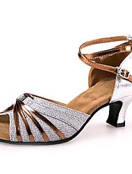Non Customizable Women's Dance Shoes Patent Leather / Paillette Patent Leather / Paillette Latin High Heels Chunky HeelIndoor / Practice