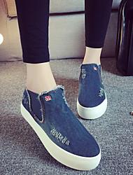 2015 Spring/Autumn Style Fashion Solid Platforms Slip-On Denim Sneakers Shoes Canvas Women Black/Light Blue/Dark Blue