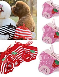 FUN OF PETS® Female Pet Dog Strawberry Striped Underwear Puppy Cat Diaper Sanitary Pants(Assorted Colours and Sizes)