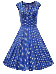 Going out Vintage / Cute A Line Dress,Polka Dot Sweetheart Knee-length Short Sleeve Blue / White / Gray / PurpleCotton / Polyester /
