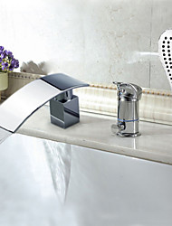 Bathtub Faucet - Contemporary - Waterfall / Sidespray - Brass (Chrome)